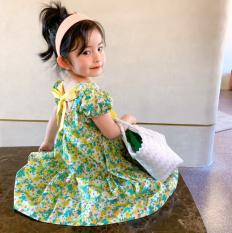 Váy Thô Tay Bồng Hoa Nhí Thắt Nơ Lưng Cho Bé Gái QATE730