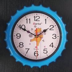 Đồng hồ treo tường tròn nhỏ 24cm – Gấu màu xanh – Kim Giật và Kim Trôi
