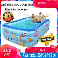 Bể bơi bơm hơi cỡ lớn tặng kèm bơm – Thành cao chất liệu nhựa dày dặn đàn hồi tốt , Thiết kế 3 tầng chịu lực tốt , Dễ dàng gấp gọn khi không sử dụng – Bể boi gia đình – Bể bơi phao 3 tầng – Yenny
