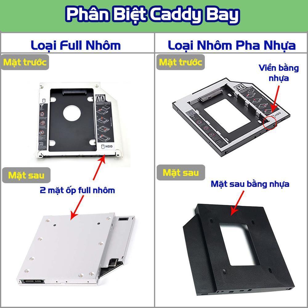 Caddy Bay SATA 3.0 9.5mm gắn thêm ổ cứng HDD SSD cho Laptop Tặng Tovit full nhôm