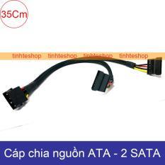 Dây chuyển nguồn Molex ATA/IDE sang 2 SATA – Đổi từ nguồn máy tính ra 2 SATA cấp nguồn cho SSD HDD DVD-R DIY 35Cm