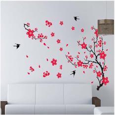 Decal tết, hình dán trang trí năm mới hoa đào hoa mai đỏ khổ 60*90 (mẫu 5)