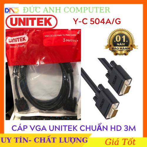 Cáp Vga UNITEK 3M (YC 504A/G)- Chính Hãng 100%, Bảo Hành 12 Tháng – 1 Đổi 1- Dây Cao Cấp Hỗ Trợ Độ Phân Giải Cao Lên Tới 1920x1080P full HD.