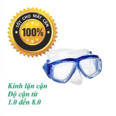Mặt nạ lặn cận cho người cận thị độ cận từ 1.5 độ đến 8.0 độ, mắt kính cận bằng kính cường lực trong suốt tầm nhìn rộng POPO Collection