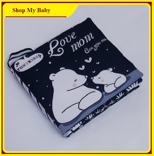 Sách vải cho bé song ngữ TonyKids | Sách vải đen trắng kích thích thị giác cho trẻ sơ sinh
