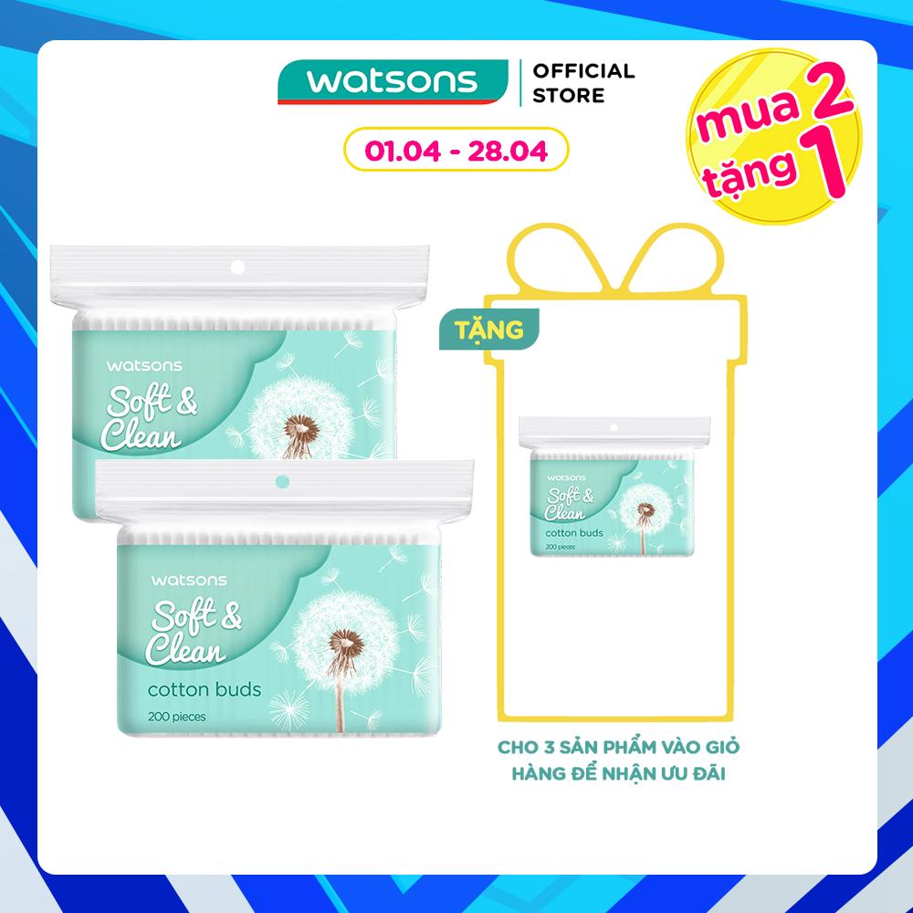 [Mua 2 TẶNG 1] Tăm Bông Watsons Cotton Buds 200 Que