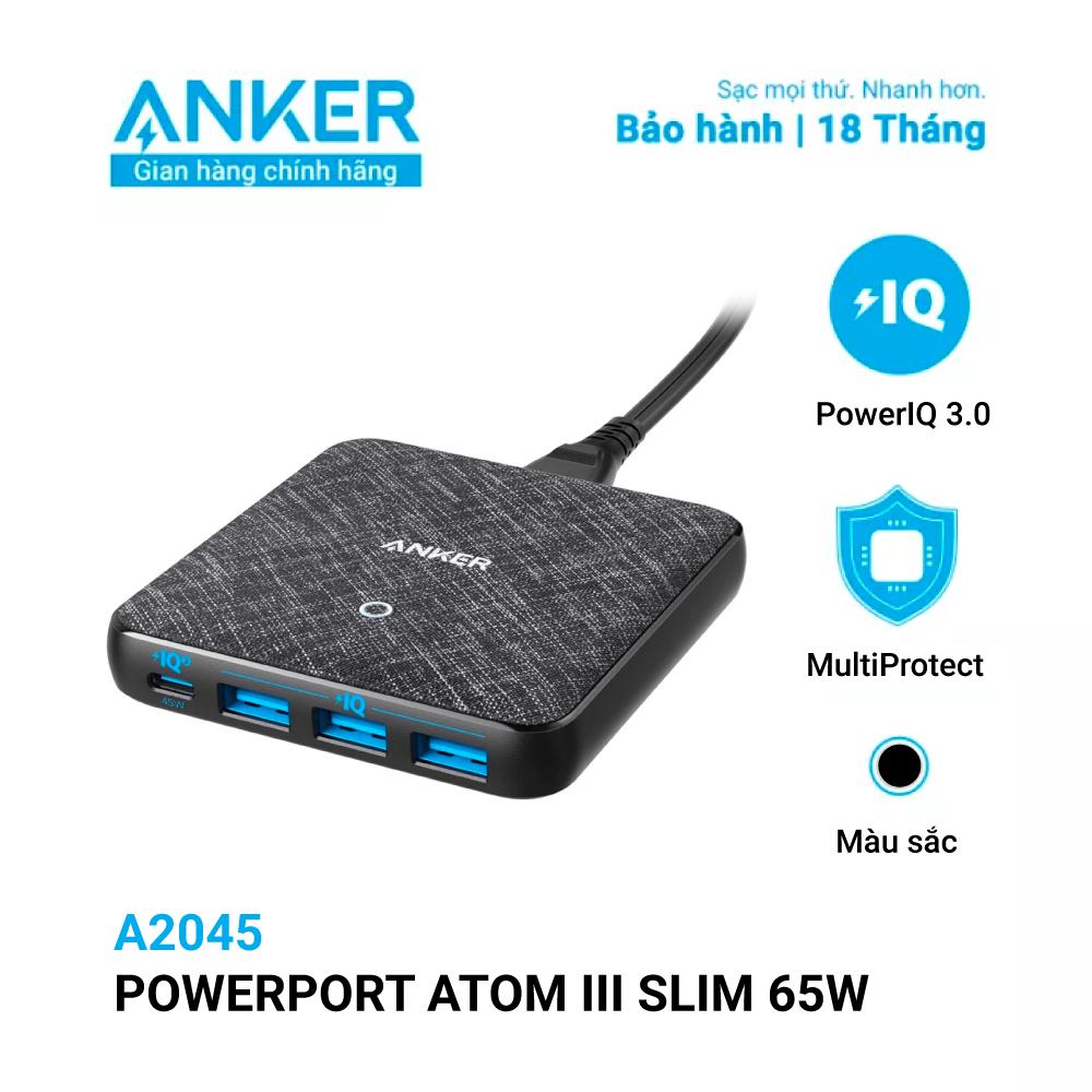 Sạc ANKER 4 cổng PowerPort Atom III Slim 65w PIQ 3.0&GaN – A2045