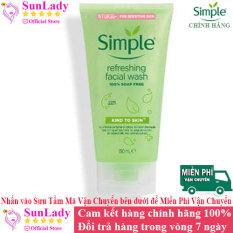 [HCM]Sữa Rửa Mặt Dịu Nhẹ Dạng Gel Simple Refreshing 150ml chính hãng – Sữa rữa mặt chống lão hóa trị mụn Simple – srm simple