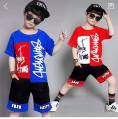 Quần áo trẻ em mùa hè, Bộ quần áo bé trai, đồ bộ bé trai thun cotton co giãn 4 chiều in chữ ký cho bé từ 12kg đến 45kg (màu xanh, đỏ) [Chuột Lắc Store]