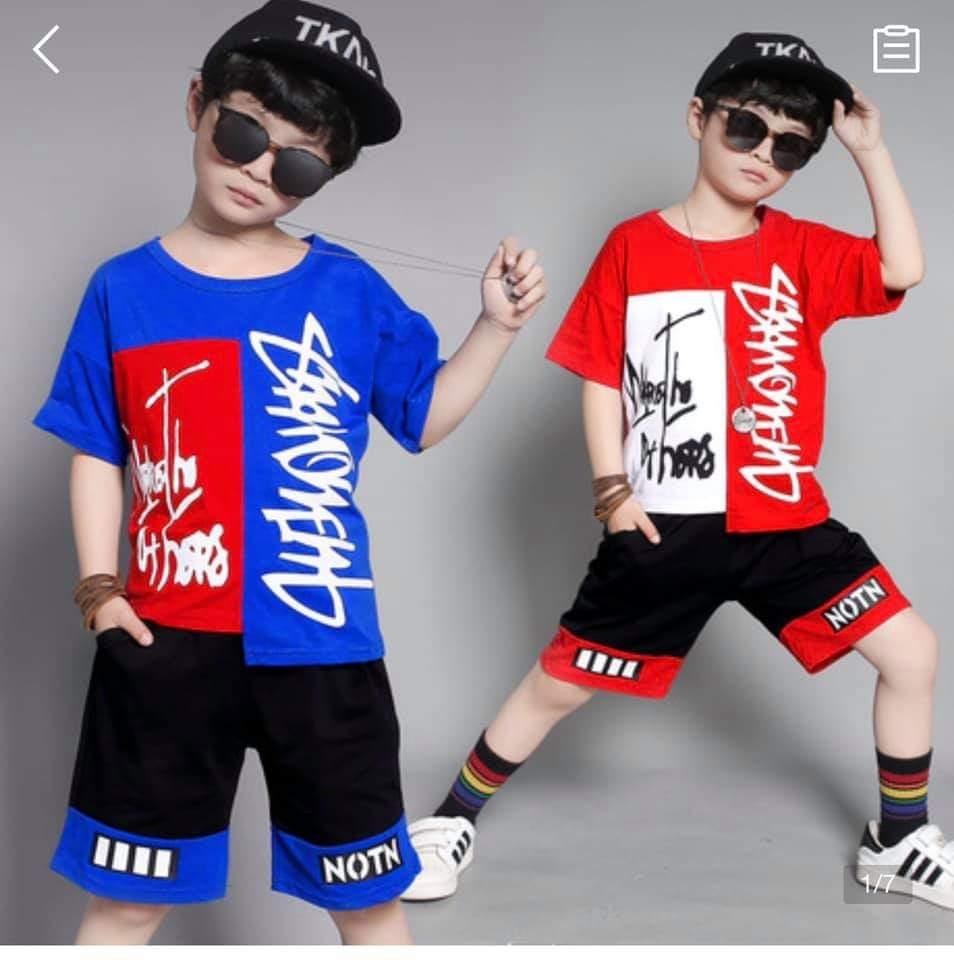 Quần áo trẻ em mùa hè, Bộ quần áo bé trai, đồ bộ bé trai thun cotton co giãn 4...