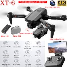 (BỘ 2 PIN) – TẶNG TÚI ĐỰNG- Flycam mini XT6 4K hai camera kép ổn định hơn, thời gian bay 15 phút, chế độ nhào lộn 360° – camera điều chỉnh lên xuống 90°, WIFI 2.4g truyền hình ảnh trực tiếp về điện thoại – BẢO HÀNH 3 THÁNG