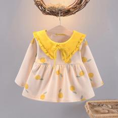 (Ảnh thật) Váy Dài Tay Bé Gái Dáng Babydoll Cổ Phối Bèo Có Dây Nơ Họa Tiết Quả Cam HQ Fashionkids VAY G1009