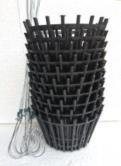 Combo 10 bộ móc và chậu nhựa giả gỗ trồng lan có nan phụ chống rơi giá thể phi 20