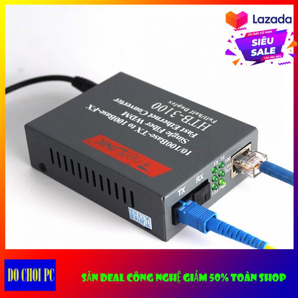Bộ Netlink HTB-3100AB Thiết Bị Chuyển Đổi Quang Điện 1 Sợi Media Converter 1FO 1 Quang 1 LAN 100Mbps
