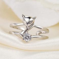 Nhẫn Hồ ly vượng tình duyên S925 nạm đá cao cấp, nhẫn bạc nữ cá tính, nhẫn nữ phong thủy, nhẫn hồ ly bạc 925 MDL-Ri15