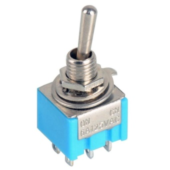 1 Pcs Blue Dpdt Mini Toggle Switch On-On High Quality Guitar Switchnew - - intl