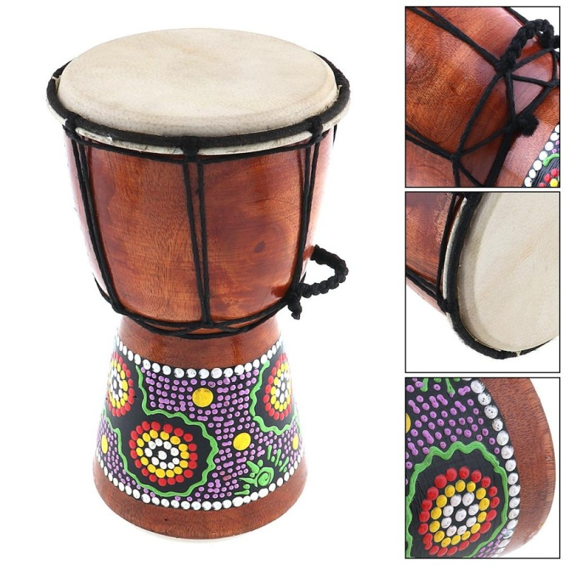 4 Inch Professional African Djembe Drum Wood Goat Skin Good Sound Musical Instrument - intl