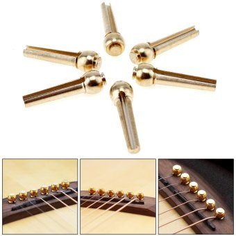 6pcs/set Pure Copper Brass Guitar Bridge Pins for Folk AcousticGuitar - intl