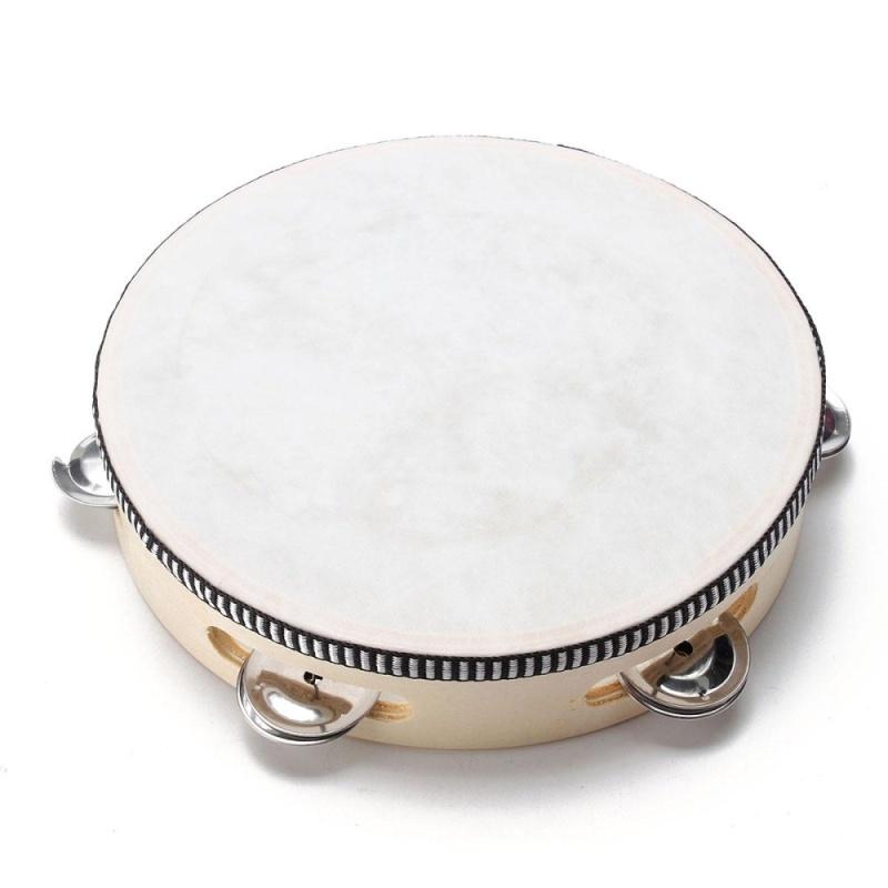 8 Musical Tambourine Tamborine With Head Drum Round Percussion for KTV Party - intl