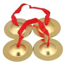 9 cm Bằng Đồng Thau Đồng Kiêm Đồ Chơi Âm Nhạc với Dây Đỏ Vàng bộ 2