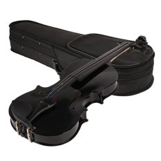 Basswood 1/8 Full Size Acoustic Violin Fiddle Black with Case Bow Rosin – intl