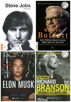 Bộ 4 cuốn: Tiểu Sử Steve Job, Elon Musk, Warren Buffett, RichardBranson