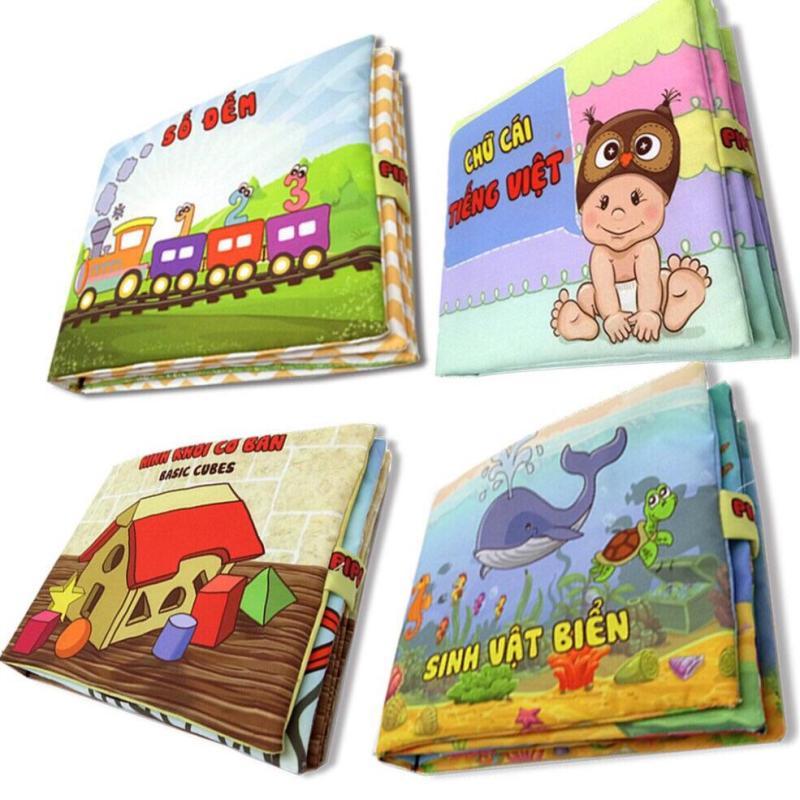 Mua Bộ 4 sách vải cho bé chơi mà học Pipo - Số đếm chữ cái hình khối và Sinh vật biển