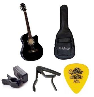 Bộ Đàn Guitar Acoustic Vines VA3910BK + Bao đàn guitar 03 lớp SOL.G+ Capo PBA05BK + Máy lên dây PD-JT30 và Móng Gảy Dunlop 4180