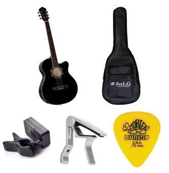 Bộ Đàn Guitar Acoustic Vines VA3910BK + Bao đàn Guitar 03 lớp SOL.G + Capo PBA05SL + Máy lên dây PD-JT30 và Móng gảy Dunlop 4180