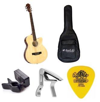 Bộ Đàn Guitar Acoustic Vines VA3910N + Bao đàn Guitar 03 lớp SOL.G+ Capo PBA05SL + Máy lên dây PD-JT30 và Móng gảy Dunlop 4180