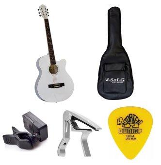 Bộ Đàn Guitar Acoustic Vines VA3910WH + Bao Đàn Guitar 03 lớp SOL.G+ Capo PBA05SL + Máy lên dây PD-JT30 và Móng gảy Dunlop 4180