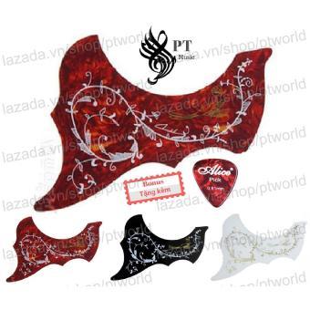 Bộ Miếng dán đàn Guitar cao cấp chống trầy xước bảo vệ đàn hình 3D họa tiết chim + Pick...