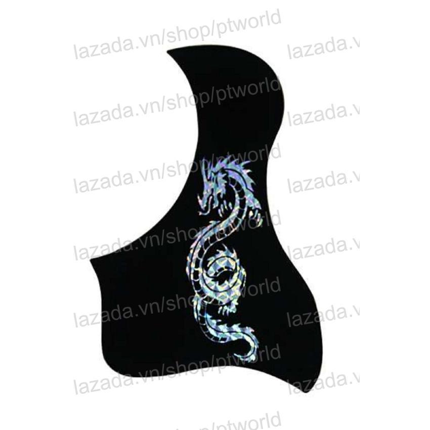 Bộ Miếng dán đàn Guitar cao cấp chống trầy xước bảo vệ đàn hình 3D laser Rồng bạc + Pick...