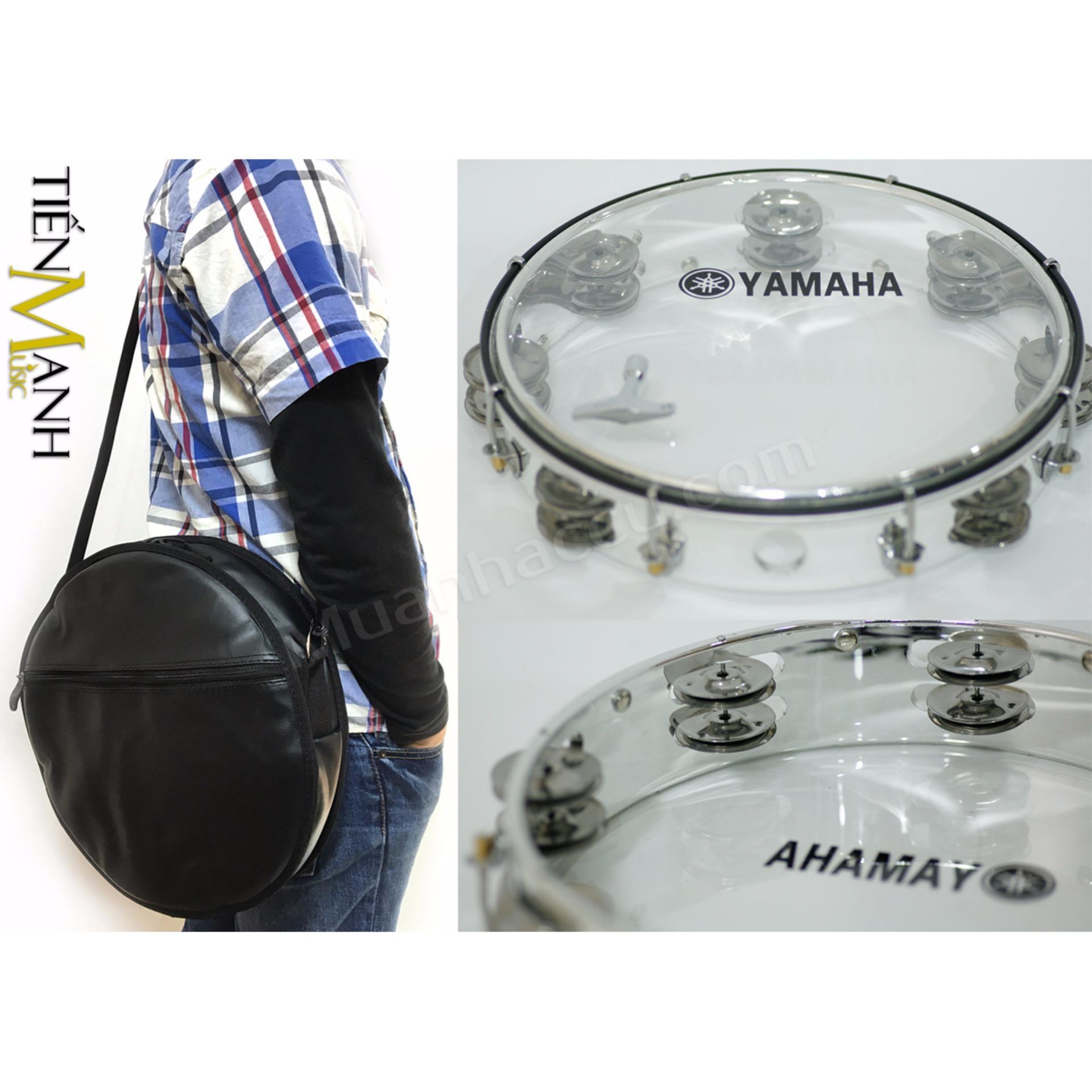 Combo Trống lắc tay và Bao đựng Lục Lạc Gõ Bo Tambourine Yamaha MT6-102T (Trong suốt – Trống chơi nhạc chế gõ po – Xipo)