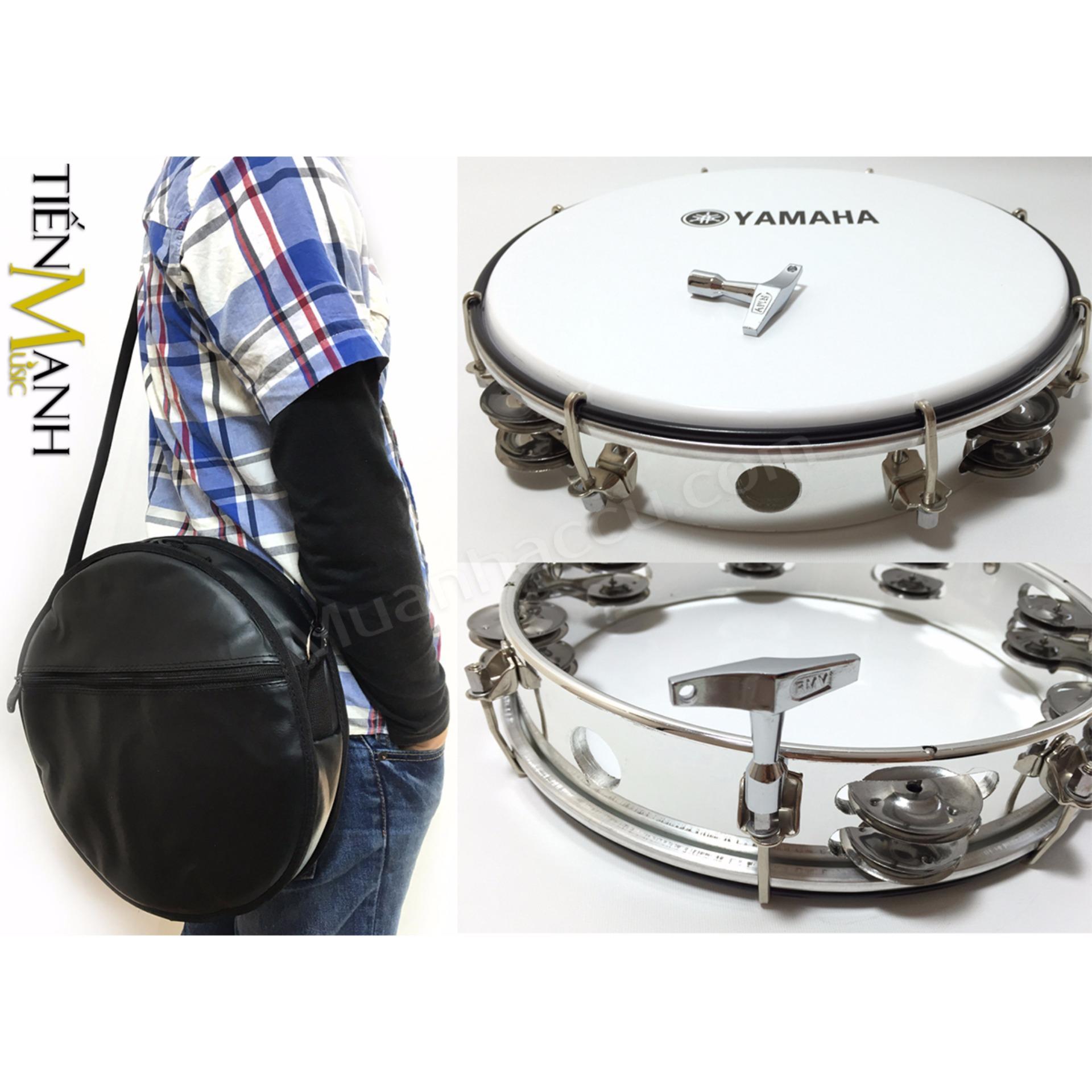 Combo Trống lắc tay và Bao đựng Lục Lạc Gõ Bo Tambourine Yamaha MT6-102A (Trắng – Trống chơi nhạc chế gõ po – Xipo)