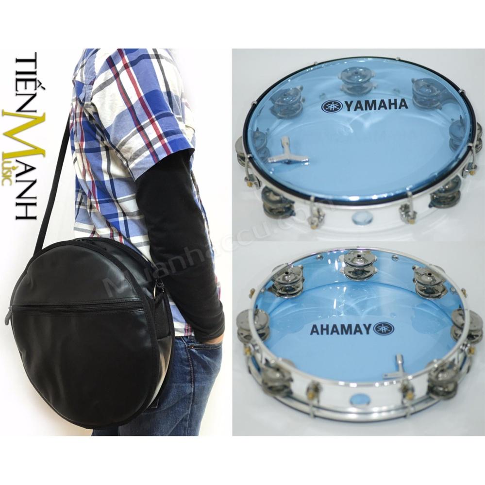 Combo Trống lắc tay và Bao đựng Lục Lạc Gõ Bo Tambourine Yamaha MT6-102B (Xanh Trong Suốt – Trống chơi nhạc chế gõ po – Xipo)