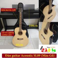 Đàn guitar Acoustic SAOLA09 màu gỗ – Có Ty Chỉnh Cong Cần +Tặng Bao Da, Phụ kiện