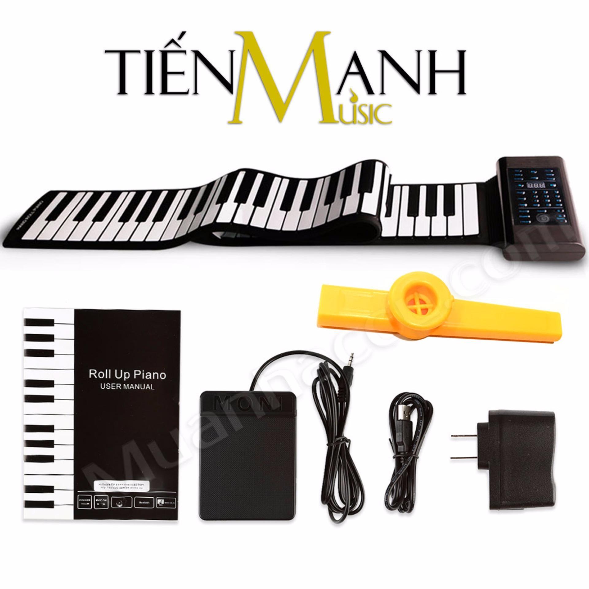 Đàn Piano Konix 88 phím cuộn mềm dẻo Flexible PB88 (Roll Up Piano hỗ trợ kết nối máy tính – Pin sạc 1000mAh – Có Pedal, Cáp kết nối USB – Midi Keyboard Controller – Tặng Kèn Kazoo)