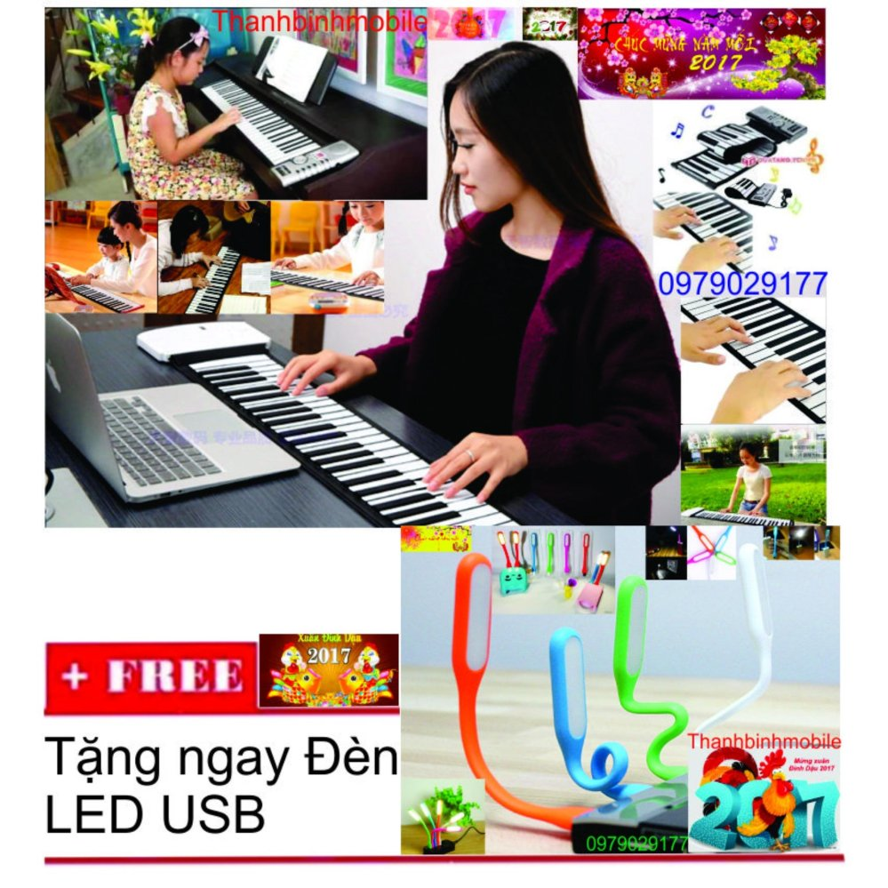 Nơi nào bán Đàn piano điện tử bàn phím cuộn dẻo 49 keys + Đén Led usb