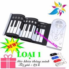 Đàn piano điện tử bàn phím cuộn dẻo 49 keys Loại 1 Công nghệ mới 2017 Loại 1 (trắng) + Móc khóa thông minh