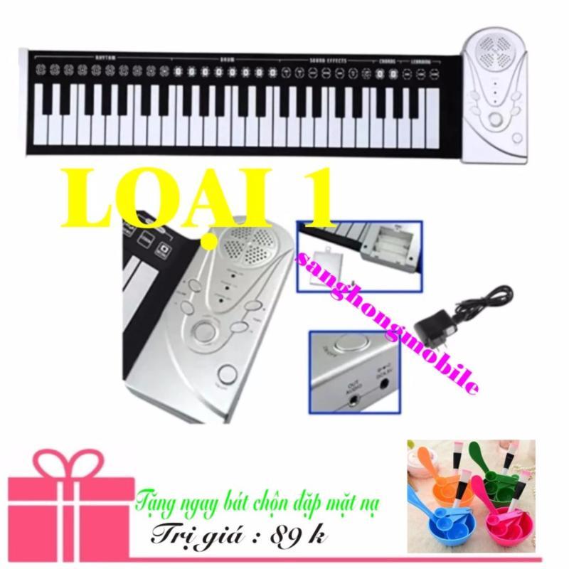 Đàn piano điện tử bàn phím cuộn dẻo 49 keys Loại 1 Công nghệ mới 2017 (trắng) + Bát trộn đắp mặt