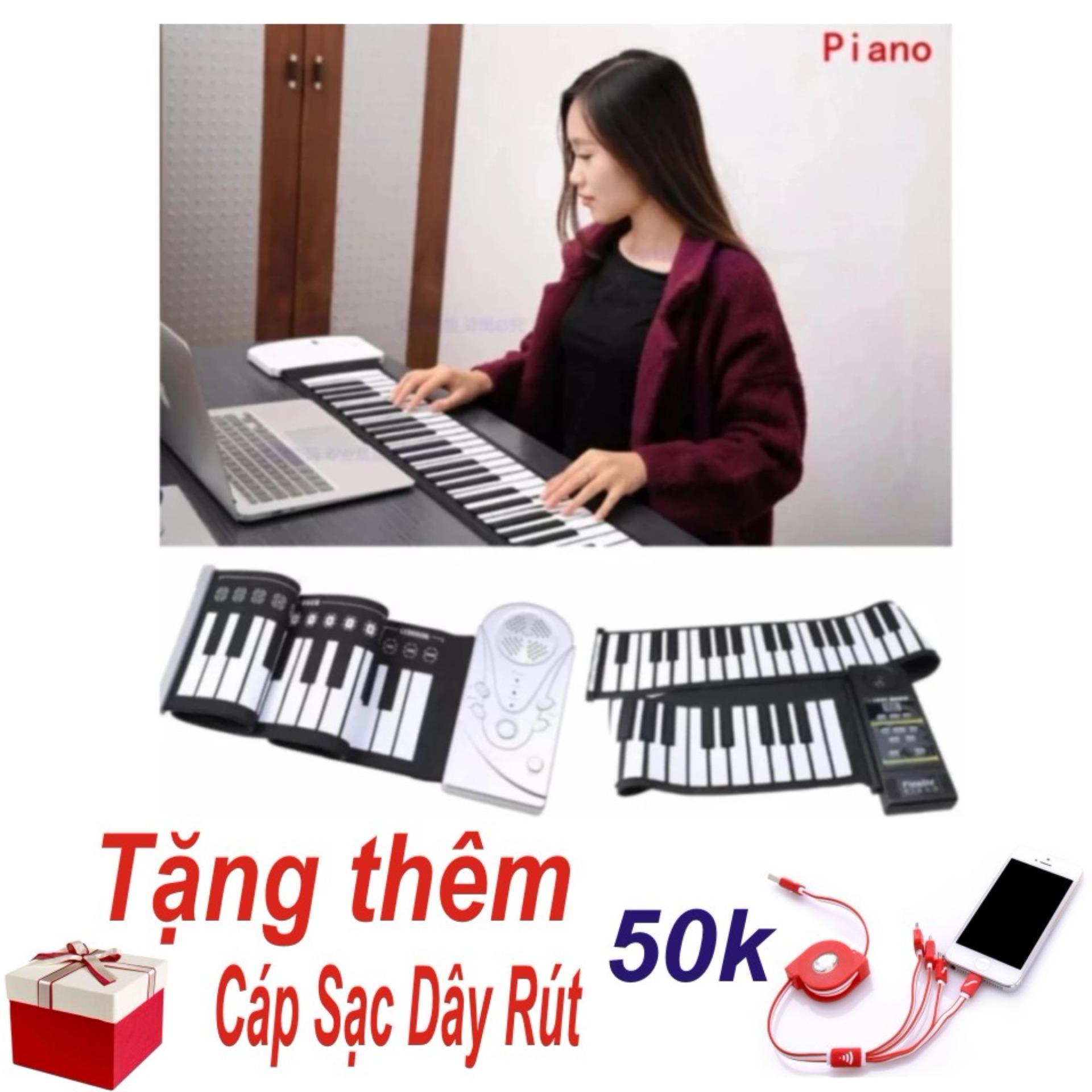 Báo Giá Đàn Piano Điện Tử Bàn Phím Cuộn Dẻo 49 Keys (Trắng) – Hàng Nhập Khẩu + Tặng Cáp Sạc Dây Rút 4 Đầu