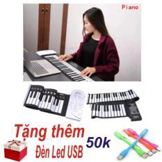 Đàn Piano Điện Tử Bàn Phím Cuộn Dẻo 49 Keys (Trắng) – Hàng Nhập Khẩu + Tặng Đèn Led USB