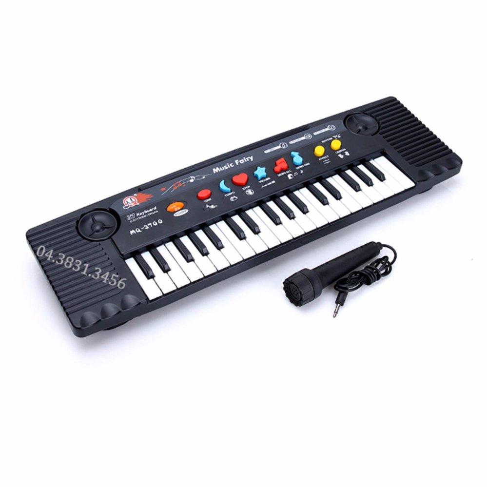 Đàn Piano điện tử có mic sành điệu cho bé (Đen phối trắng):