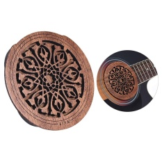 Guitar Wooden Soundhole Sound Hole Cover Block Feedback BufferMahogany Wood for EQ Acoustic Folk Guitars ^