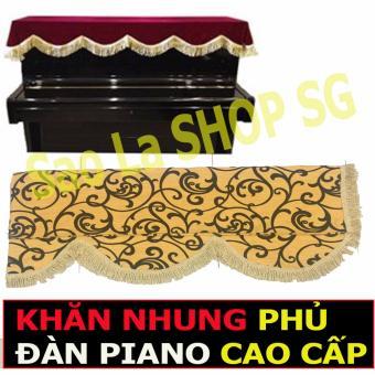 Khăn Phủ Đàn Piano Chất Liệu Vải Cao Cấp - Vàng Da Họa Tiết ThêuNổi Đen (PIANO UPRIGHT)