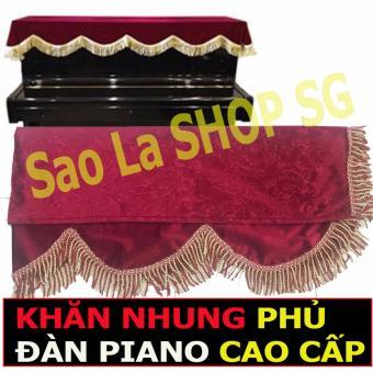 Khăn Phủ Đàn Piano Chất Liệu Vải Nhung Cao Cấp - ĐỎ ĐÔ (Piano UPRIGHT)