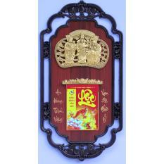 Lịch phù điêu Phúc Lộc Thọ vàng nền gỗ 41×81(cm)