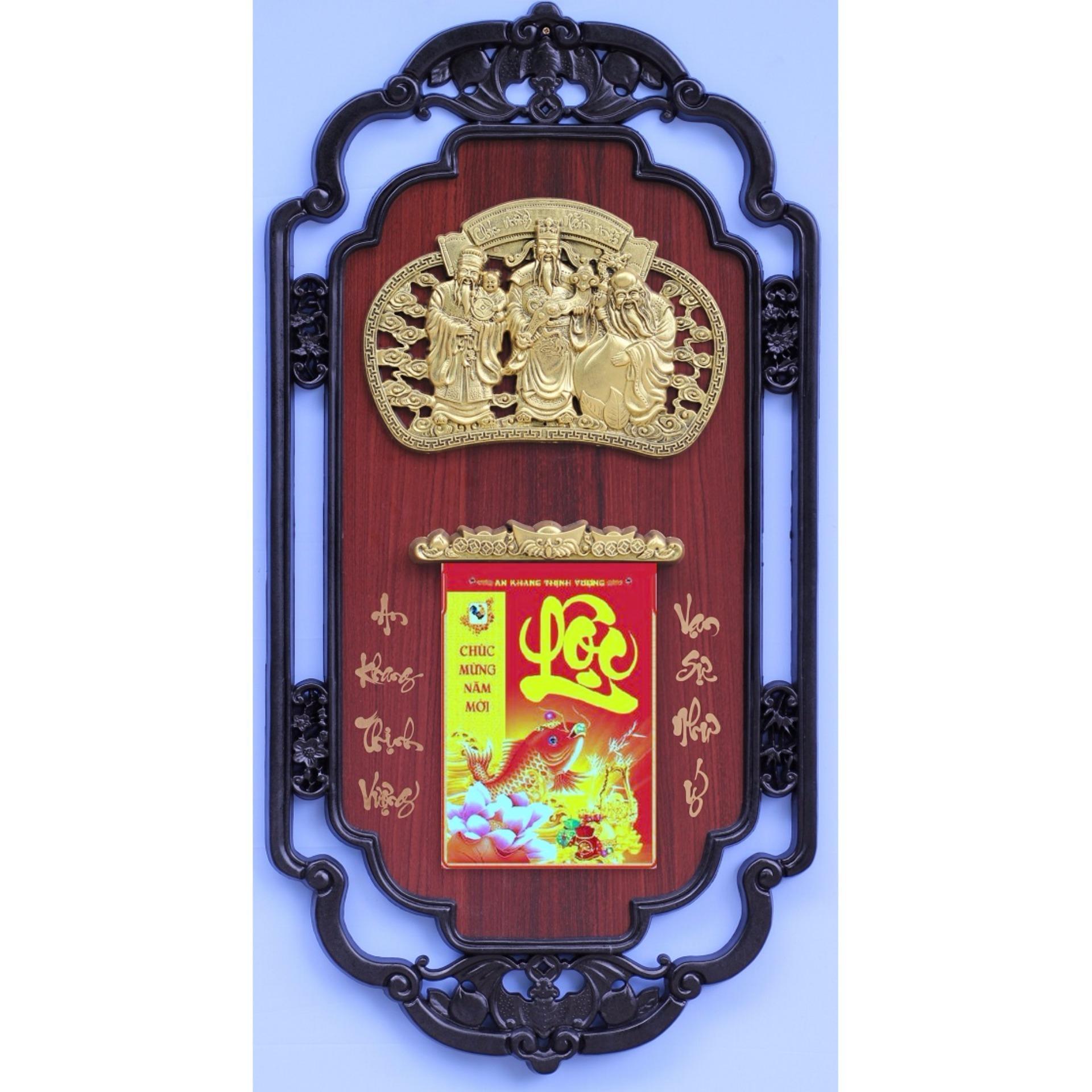 Lịch phù điêu Phúc Lộc Thọ vàng nền gỗ 41x81(cm)