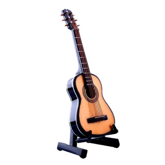 Media, Music Books Acoustic Guitars 1:12 Mini Acoustic Guitar Wooden Miniature Musical Dollhouse With Case New - intl